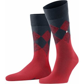 Burlington Hampstead Herren Socken, 40-46, Rot, Argyle, Baumwolle, 21912-800002