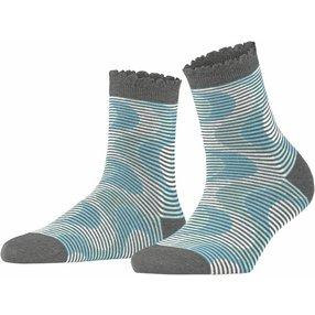 Burlington Frequency Stripe Damen Socken, 36-41, Grau, Streifen, Baumwolle, 27108-316501