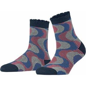 Burlington Frequency Stripe Damen Socken, 36-41, Blau, Streifen, Baumwolle, 27108-612001