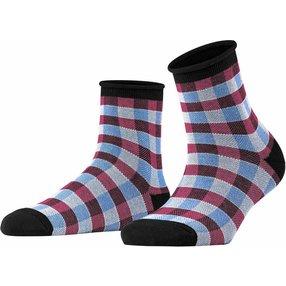 Burlington Sporty Vichy Damen Socken, 36-41, Schwarz, Baumwolle, 27101-300001