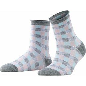 Burlington Sporty Vichy Damen Socken, 36-41, Grau, Baumwolle, 27101-340701
