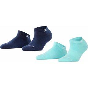 Burlington Everyday 2-Pack Damen Sneakersocken, 36-41, Blau, Uni, Baumwolle, 22051-680201