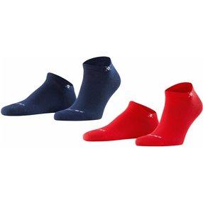 Burlington Everyday 2-Pack Herren Sneakersocken, 40-46, Rot, Uni, Baumwolle, 21052-800002