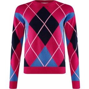 Burlington Damen Pullover Rundhals, XL, Pink, Argyle, Baumwolle, 2259002-85870600