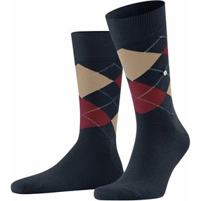 Burlington King Herren Socken, 46-50, Blau, Argyle, Baumwolle, 21020-613803
