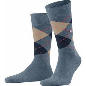 Burlington King Herren Socken, 40-46, Blau, Argyle, Baumwolle, 21020-667002