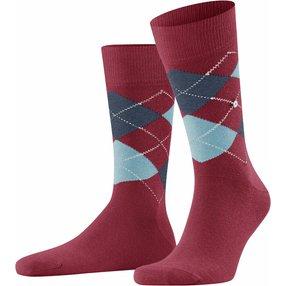 Burlington King Herren Socken, 40-46, Rot, Argyle, Baumwolle, 21020-883002
