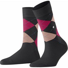 Burlington Queen Damen Socken, 36-41, Schwarz, Argyle, Baumwolle, 22040-301001