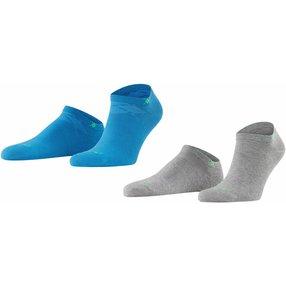 Burlington Everyday 2-Pack Herren Sneakersocken, 40-46, Blau, Uni, Baumwolle, 21052-669202