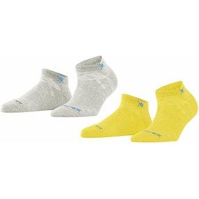 Burlington Everyday 2-Pack Damen Sneakersocken, 36-41, Gelb, Uni, Baumwolle, 22051-114101