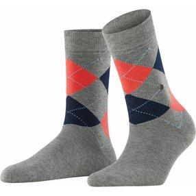 Burlington Queen Damen Socken, 36-41, Grau, Argyle, Baumwolle, 22040-339301