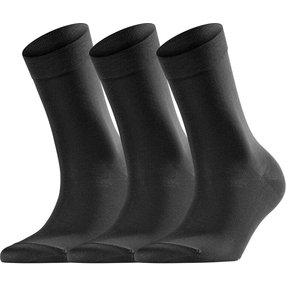 FALKE Cotton Touch 3-Pack Damen Socken, 35-38, Schwarz, Uni, Baumwolle, 49101-300901