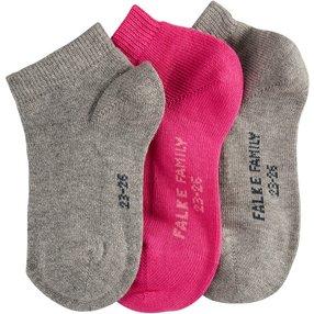 FALKE Mixed 3-Pack Kinder Sneakersocken, 27-30, Mehrfarbig, Uni, Baumwolle, 12831-001003