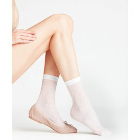 FALKE Dot 15 DEN Damen Socken, 39-42, Weiß, Punkte, 41452-220902