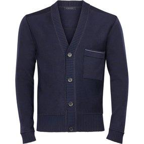 FALKE Herren Cardigan, 50, Blau, Struktur, Baumwolle, 1151073-62520400
