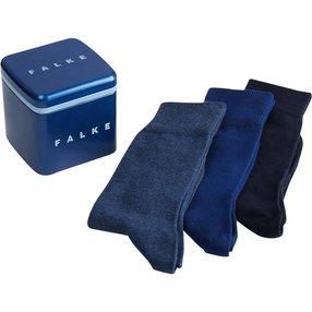 FALKE Happy 3-Pack Herren Geschenkbox, 39-42, Mehrfarbig, Uni, Baumwolle, 13042-002002