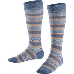 FALKE Mixed Stripe Kinder Kniestrümpfe, 39-42, Blau, Streifen, Baumwolle, 11867-666006
