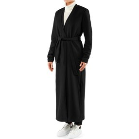 FALKE Damen Mantel V-Ausschnitt, 36, Schwarz, Uni, Wolle, 65026-300901