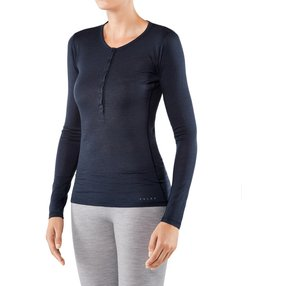 FALKE Damen Langarmshirt Silk-Wool, XS, Blau, Uni, Wolle, 33221-611601