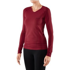 FALKE Damen Langarmshirt Warm, XL, Rot, Uni, 39110-883005