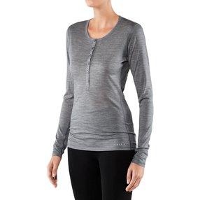 FALKE Damen Langarmshirt Silk-Wool, L, Grau, Uni, Wolle, 33221-375704