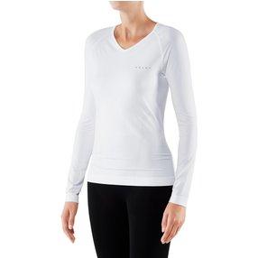 FALKE Damen Langarmshirt Warm, L, Weiß, Uni, 39110-286004