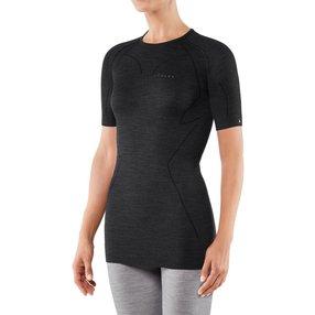 FALKE Damen Kurzarmshirt Wool-Tech, XL, Schwarz, Uni, Schurwolle, 33213-300005