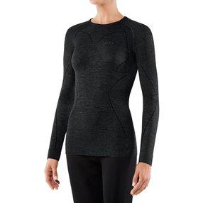 FALKE Damen Langarmshirt Wool-Tech, M, Schwarz, Uni, Schurwolle, 33211-300003
