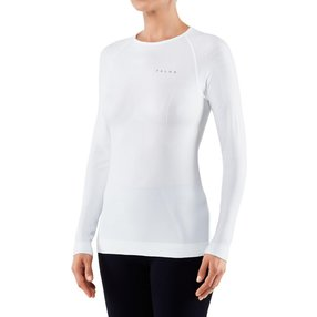 FALKE Damen Langarmshirt Warm, M, Weiß, Uni, 39111-286003