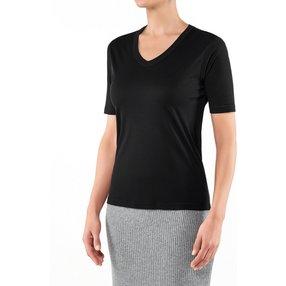 FALKE Damen T-Shirt V-Ausschnitt, L, Schwarz, Uni, Baumwolle, 66099-300004