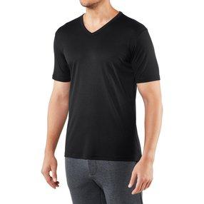 FALKE Herren T-Shirt V-Ausschnitt, S, Schwarz, Uni, Baumwolle, 62011-300001