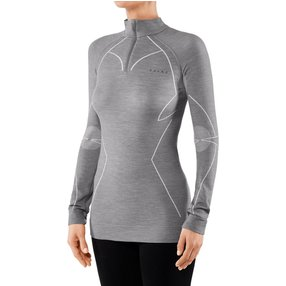 FALKE Damen Langarmshirt Wool-Tech, M, Grau, Uni, Schurwolle, 33210-375703