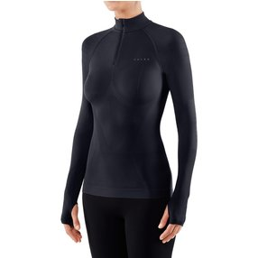 FALKE Damen Langarmshirt Warm, XL, Blau, Uni, 39127-643705