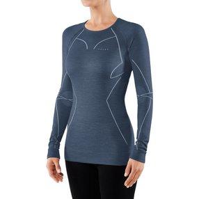 FALKE Damen Langarmshirt Wool-Tech, M, Blau, Uni, Schurwolle, 33211-675103