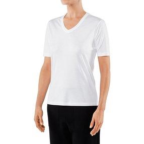 FALKE Damen T-Shirt V-Ausschnitt, XL, Weiß, Uni, Baumwolle, 66099-200005