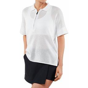 FALKE Damen Polo-Shirt, XS-S, Weiß, Struktur, Baumwolle, 64051-200001