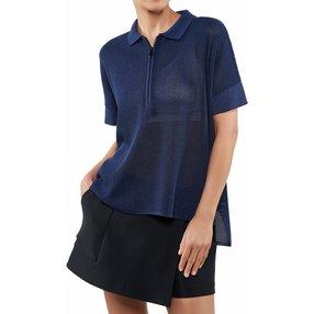 FALKE Damen Polo-Shirt, XS-S, Blau, Struktur, Baumwolle, 64051-658301