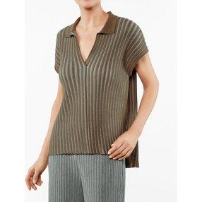 FALKE Damen Polo-Shirt, M, Braun, Streifen, Baumwolle, 64072-512303