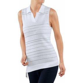 FALKE Damen Polo-Shirt, XL, Weiß, Streifen, Baumwolle, 64076-200005