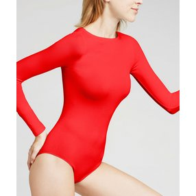 FALKE Fine Cotton Damen Body, M, Rot, Uni, Baumwolle, 40925-800002