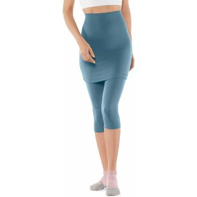 FALKE Yoga Seamless Damen 3/4 Tights, M, Blau, Uni, Baumwolle, 65040-644303