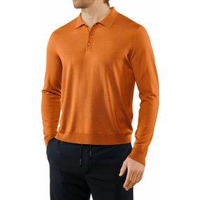 FALKE Herren Langarmshirt Polo, XL, Orange, Uni, Schurwolle, 60044-826105