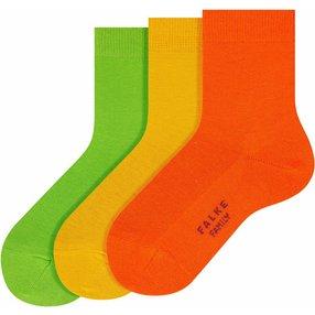 FALKE Family 3-Pack Kinder Socken, 23-26, Mehrfarbig, Uni, Baumwolle, 12885-001002