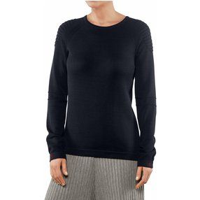 FALKE Damen Pullover Rundhals, M, Blau, Uni, Baumwolle, 64083-643703