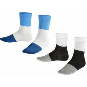 FALKE Reflec 2-Pack Kinder Socken, 27-30, Mehrfarbig, Streifen, Baumwolle, 12886-001003