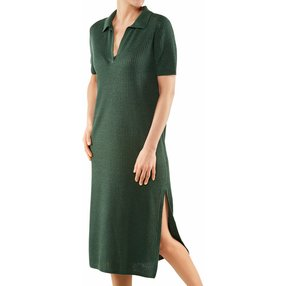 FALKE Damen Kleid Polo, XS, Grün, Struktur, Leinen, 64057-711701