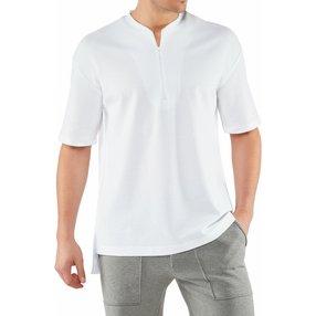 FALKE Herren T-Shirt Henley-Kragen, L, Weiß, Uni, Baumwolle, 62046-200004
