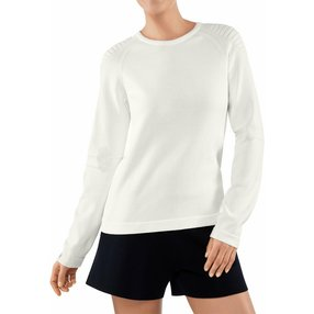 FALKE Damen Pullover Rundhals, M, Weiß, Uni, Baumwolle, 64083-204003