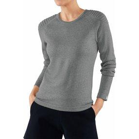 FALKE Damen Pullover Rundhals, L, Grau, Uni, Baumwolle, 64083-340004