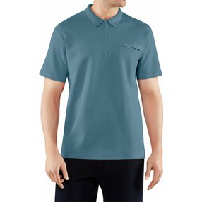 FALKE Herren Polo-Shirt, M, Blau, Uni, Baumwolle, 62043-644303